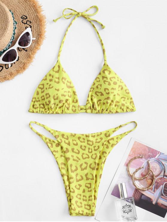 fashion ZAFUL Halter Leopard String Bikini Swimwear - YELLOW L