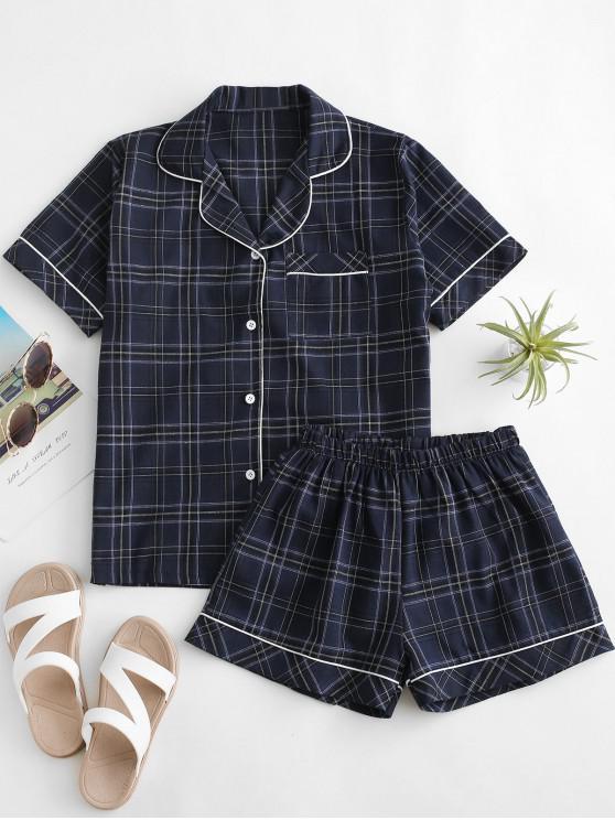 sale Checks Binding Pocket Shirt Pajamas Set - BLUE M