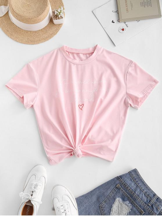 fashion ZAFUL Heart Letter Graphic Tee - PINK XL