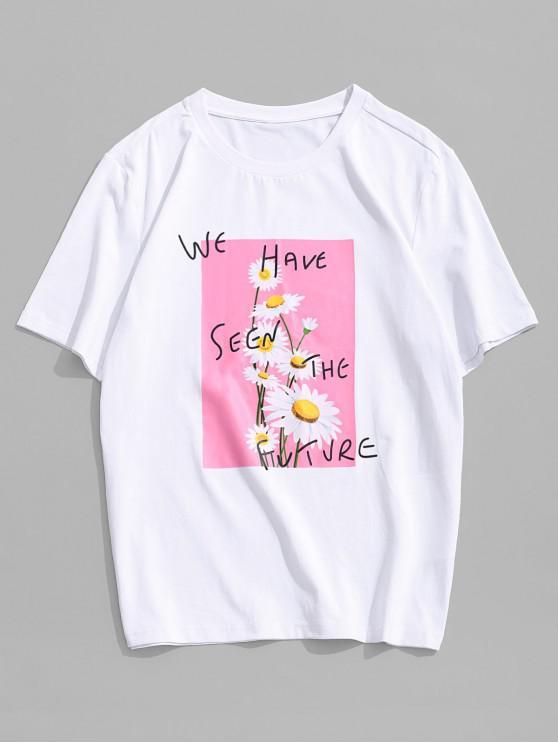 ZAFUL flori Scrisoare de model casual T-shirt - alb 2XL