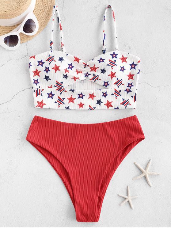 ZAFUL American Flag Colaj Ribbed Tankini Costume de baie - roșu 2XL