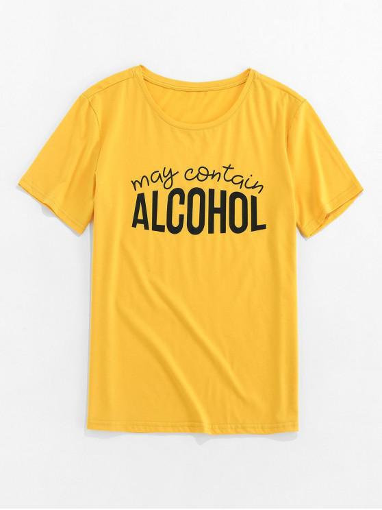 ZAFUL Graphic Letter Print Short Sleeves T-shirt - الأصفر S