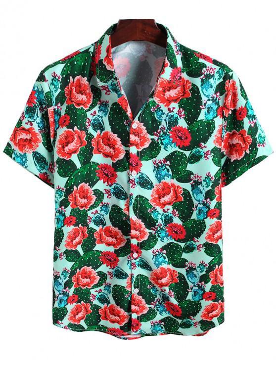 trendy Cactus Flower Print Vacation Shirt - MULTI-A 2XL