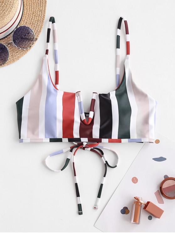 trendy ZAFUL V Wire Lace-up Striped Bikini Top - RUST M