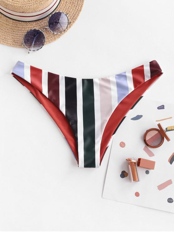 shop ZAFUL Reversible Striped Bikini Bottom - RUST M