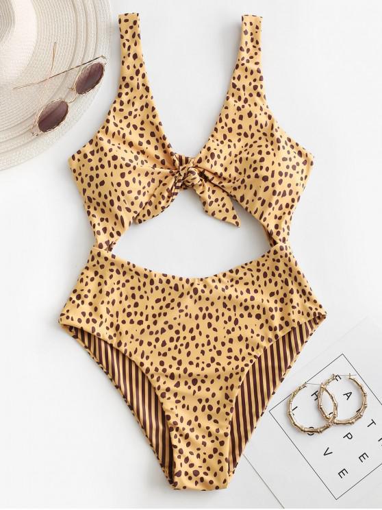 ZAFUL Dalmatians Stripes Reversible Tie Front Cut Out Swimsuit - ذهبي M
