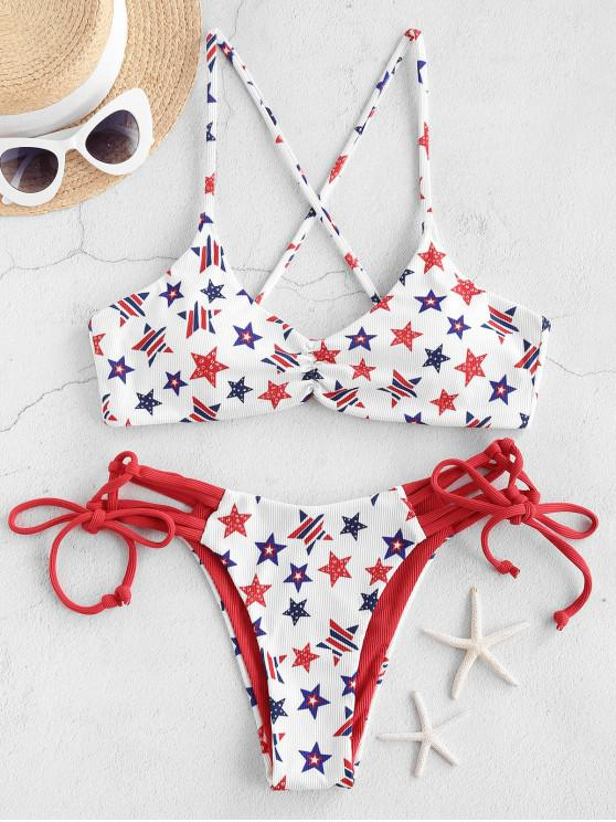 sale ZAFUL Ribbed American Flag Strappy Bikini Swimwear - WHITE L