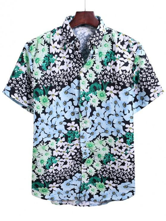 chic Floral Allover Print Vacation Shirt - MULTI-C 3XL
