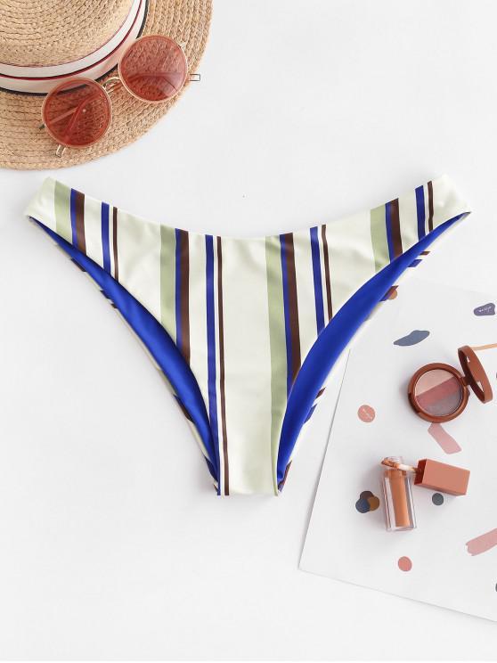 ZAFUL Listrado Reversível Calcinhas de Biquíni - Azul de Mirtilo  S
