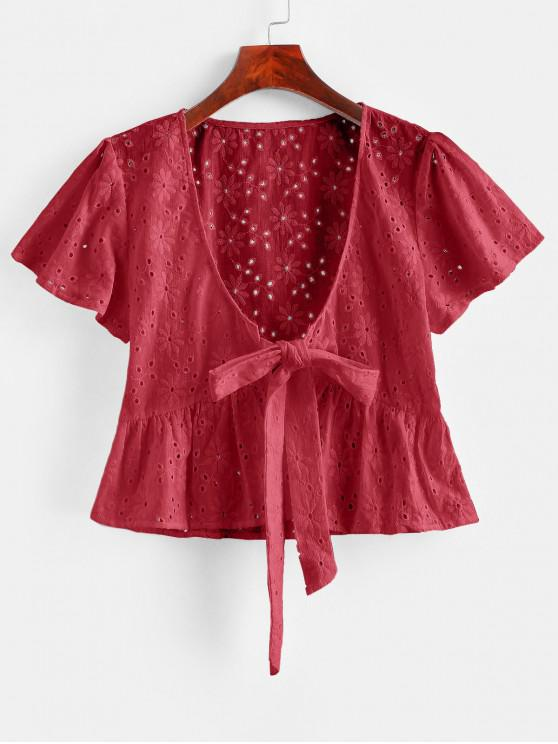 fashion Broderie Anglaise Tie Front Flounce Blouse - LAVA RED S