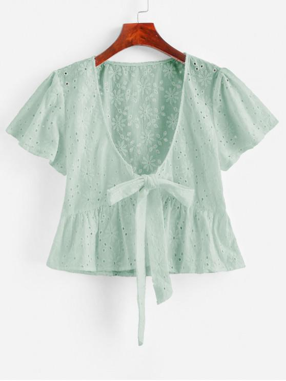 Broderie Anglaise Tie Front Flounce Blouse - نعناع M