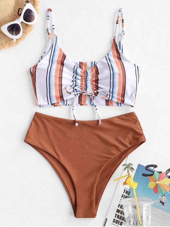 chic ZAFUL Striped Cinched High Waisted Tankini Swimwear - MULTI-A S