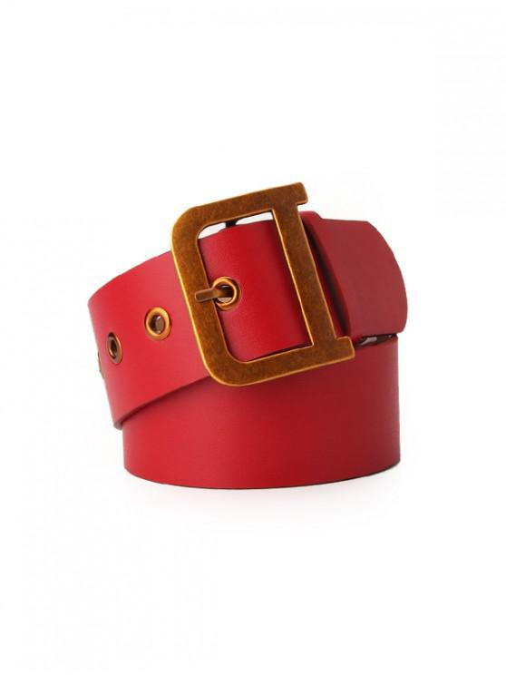 latest D-shaped Alloy Buckle PU Leather Belt - RUBY RED