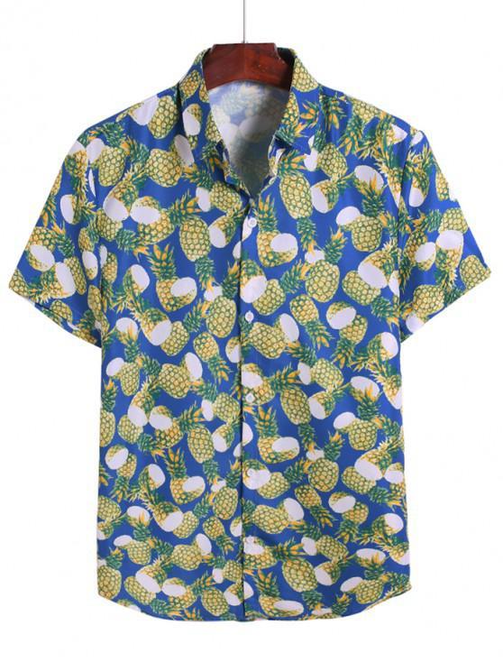 sale Pineapple Allover Print Vacation Shirt - COBALT BLUE 3XL