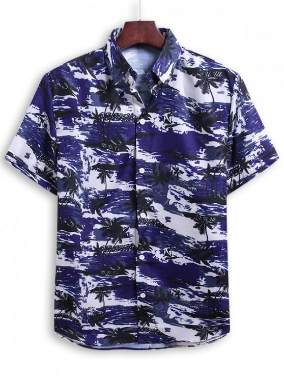 women Palm Tree Print Beach Vacation Shirt - DENIM DARK BLUE 2XL