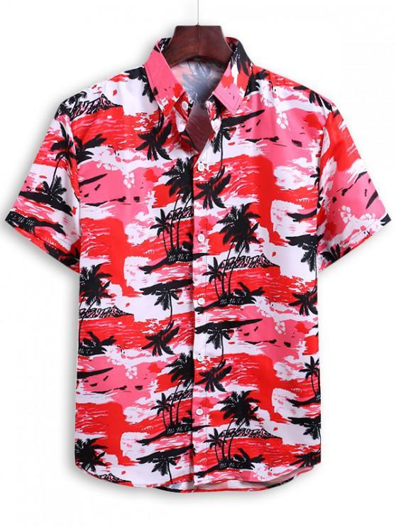 Camisa de Vacaciones de Playa con Estampado de Palma - Rosa Profundo M
