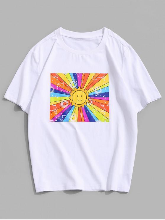 ZAFUL Bunter Sonnendruck T-Shirt mit Kurzen Ärmeln - Weiß 2XL