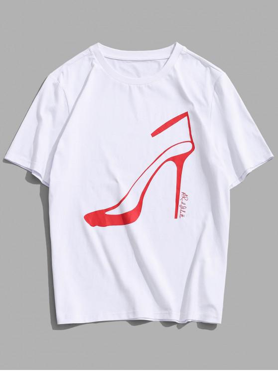 ladies ZAFUL Pumps Print Short Sleeves T-shirt - WHITE S