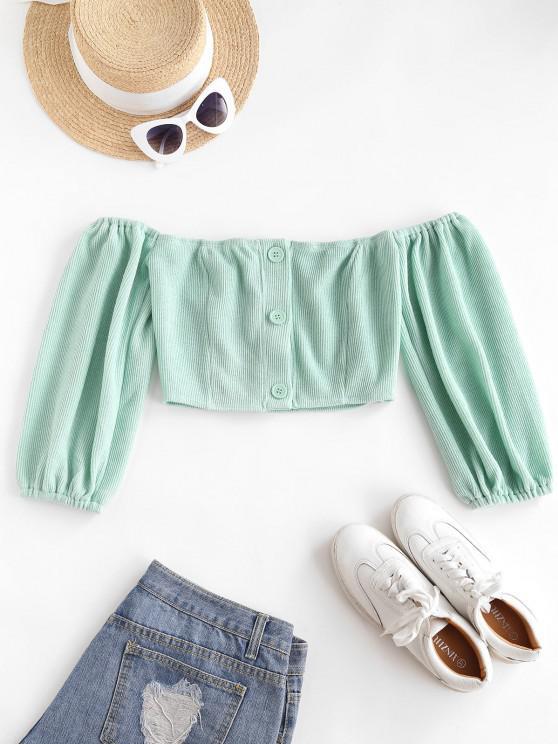 affordable Off Shoulder Button Up Crop Knitwear - CORAL BLUE M