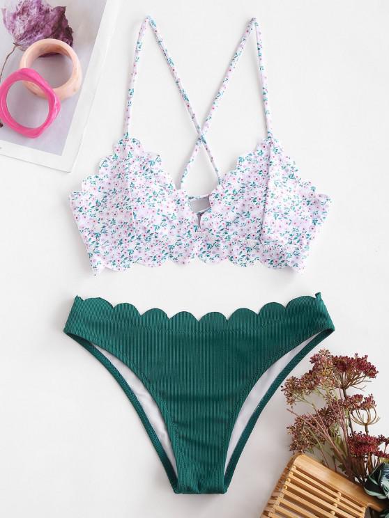 ZAFUL Ditsydruck Gerippter Bikini Badebekleidung mit Schnürung - Pfauenblau S