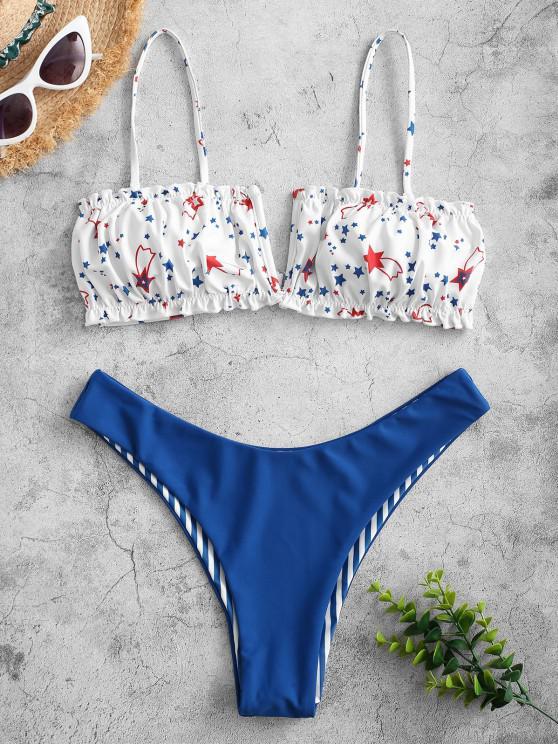 women ZAFUL American Flag V-wired Reversible Bikini Swimwear - MULTI-A S
