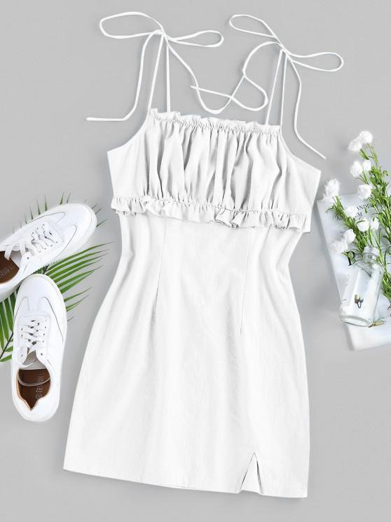 latest ZAFUL Ruched Ruffle Slit Tie Shoulder Dress - WHITE L