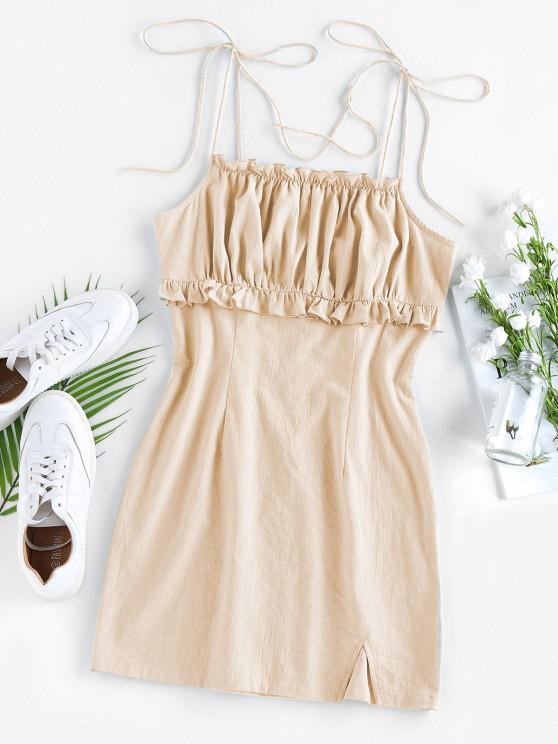 women ZAFUL Ruched Ruffle Slit Tie Shoulder Dress - APRICOT L