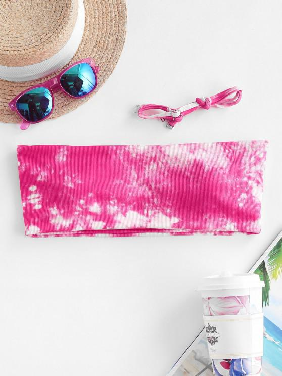 buy ZAFUL Ribbed Tie Dye Padded Bikini Top - HOT PINK L