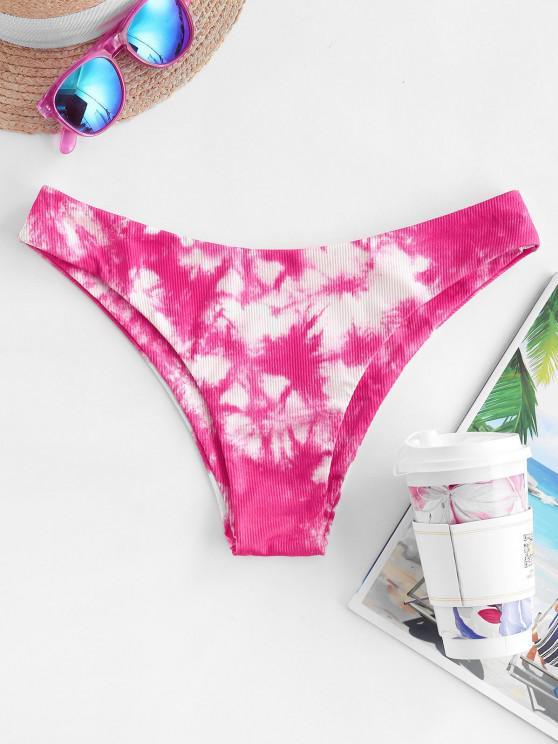 ZAFUL Tie Dye Ribbed High Leg Bikini Bottom - وردي فاقع L
