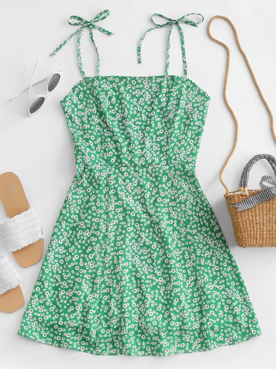 sale Tiny Floral Tie Strap Flare Dress - GREEN S