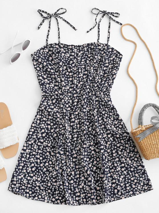 sale Tiny Floral Tie Strap Flare Dress - DEEP BLUE S