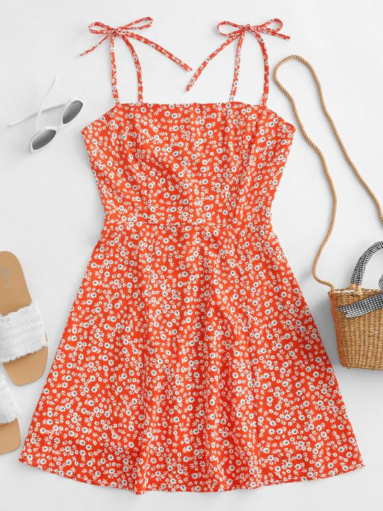 Tiny Floral Tie Strap Flare Dress - القرع البرتقال S