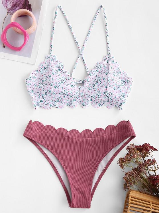 shops ZAFUL Ditsy Print Scalloped Ribbed Lace-up Bikini Swimwear - PALE VIOLET RED M