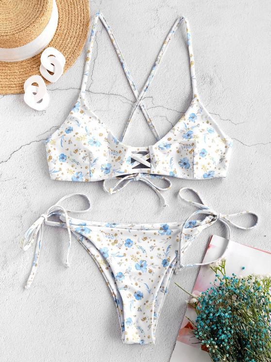 ZAFUL Maillot de Bain Bikini Plante Imprimée à Bretelle Nouée - Blanc S