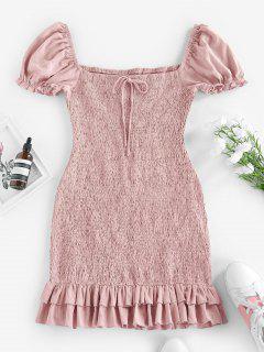 ZAFUL Smocked Bowknot Mermaid Mini Dress - Pig Pink L