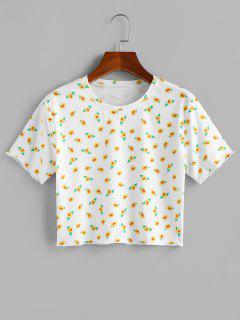 ZAFUL Flower Print Short Sleeve Crop T-shirt - White L