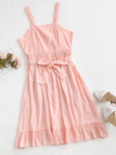 Crisscross Belted Ruffle Hem Backless Dress - Pink S