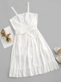 Crisscross Belted Ruffle Hem Backless Dress - White S