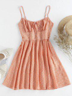 ZAFUL Ditsy Print Mini A Line Dress - Light Salmon M