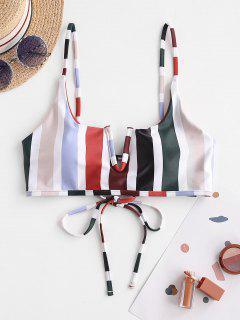 ZAFUL V Wire Lace-up Striped Bikini Top - Rust M