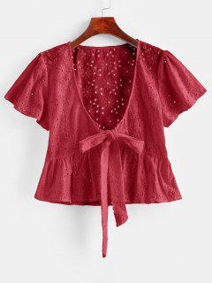 Broderie Anglaise Tie Front Flounce Blouse - Lava Red M
