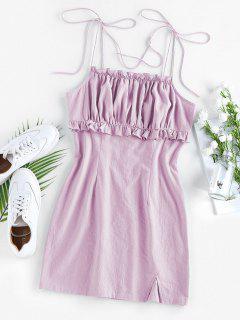 ZAFUL Ruched Ruffle Slit Tie Shoulder Dress - Mauve Xl