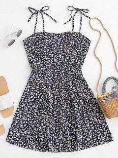 Tiny Floral Tie Strap Flare Dress - Deep Blue S