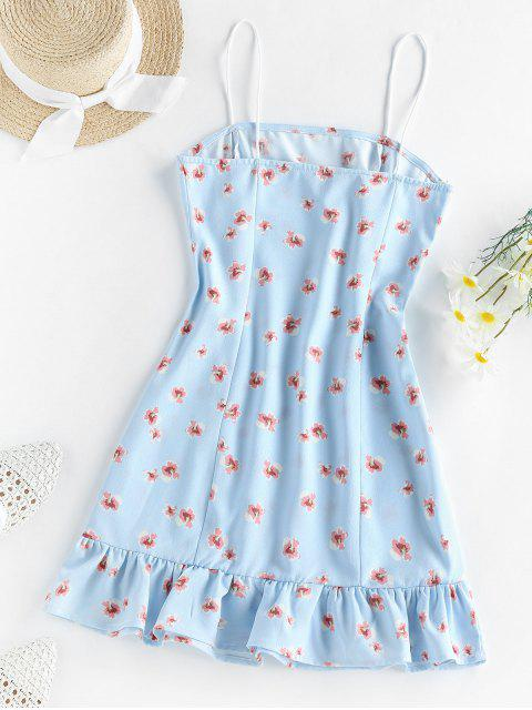 new ZAFUL Flounce Floral Print Cami Dress - BABY BLUE L Mobile