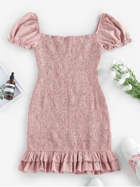 shop ZAFUL Smocked Bowknot Mermaid Mini Dress - PIG PINK L Mobile