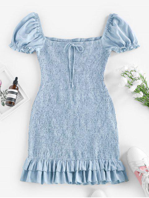 ZAFUL Kittel Bowknot Meerjungfrau Minikleid - Denim Blau M Mobile