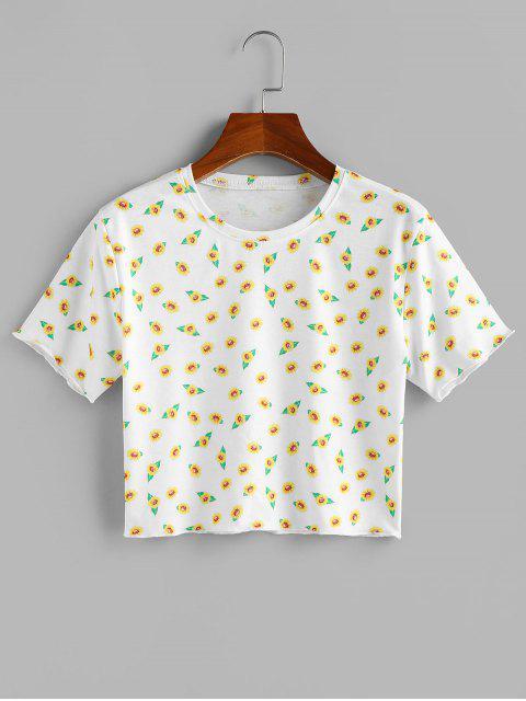 ZAFUL T-shirt Court Fleur Imprimée à Manches Courtes - Blanc XL Mobile