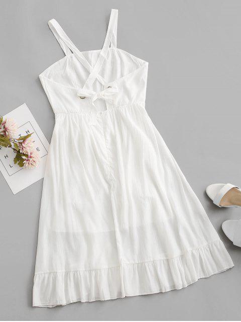 latest Crisscross Belted Ruffle Hem Backless Dress - WHITE S Mobile