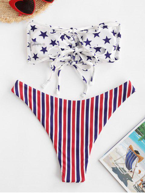 outfit ZAFUL Patriotic American Flag Ribbed Cinched Bandeau Bikini Swimwear - MULTI-A S Mobile