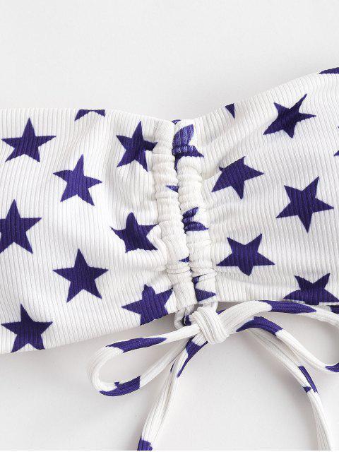 shop ZAFUL Patriotic American Flag Ribbed Cinched Bandeau Bikini Swimwear - MULTI-A L Mobile